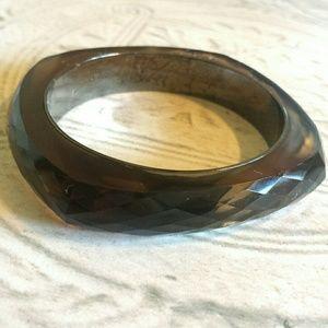Vintage Faceted Amber Plastic Bangle Bracelet. A